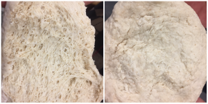 At left is the wheat sour that is ready to use; note the webbing. The ball on the right is the wheat sour after it was refreshed with flour and water.