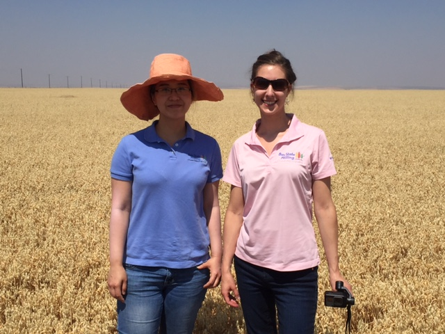 Naggie Jeradechachai and Vanessa Brovelli visit a SowNaked Oat field in Montana.