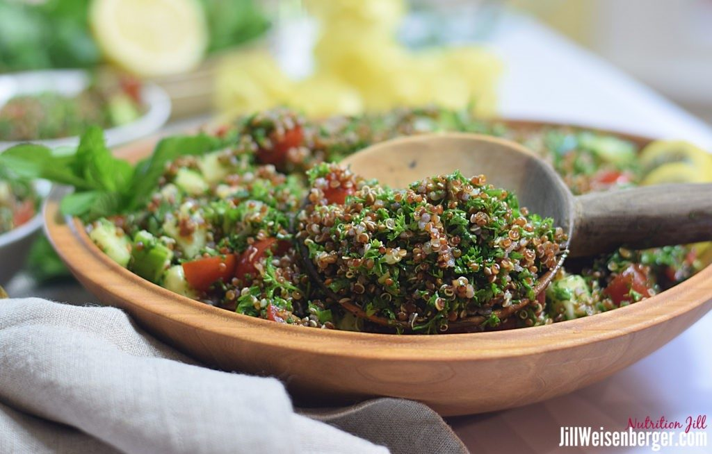 Red quinoa taboulli packs lots of nutrition, including healthy carbs.