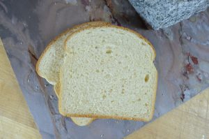 Slices of white pan bread made with HealthSense High Fiber Wheat Flour.